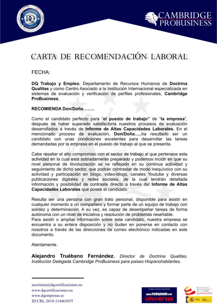 Carta recomendación personal