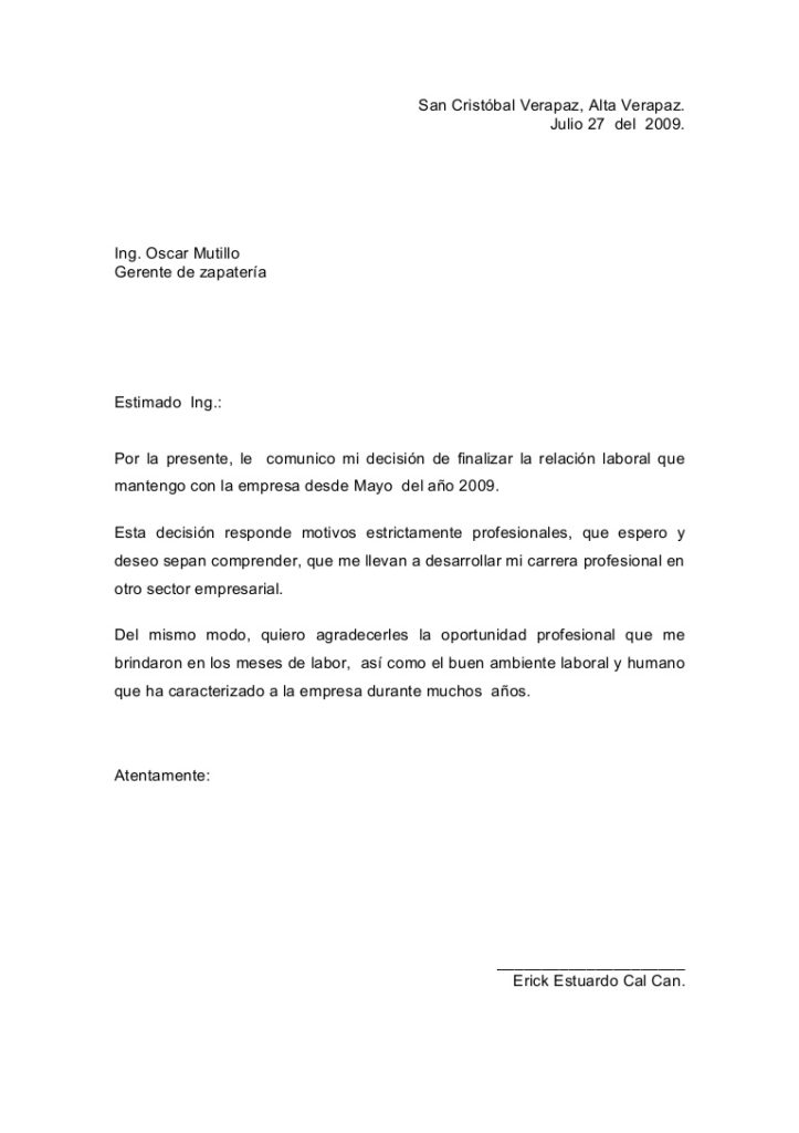 Carta de renuncia voluntaria