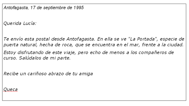 carta informal a un amigo en español