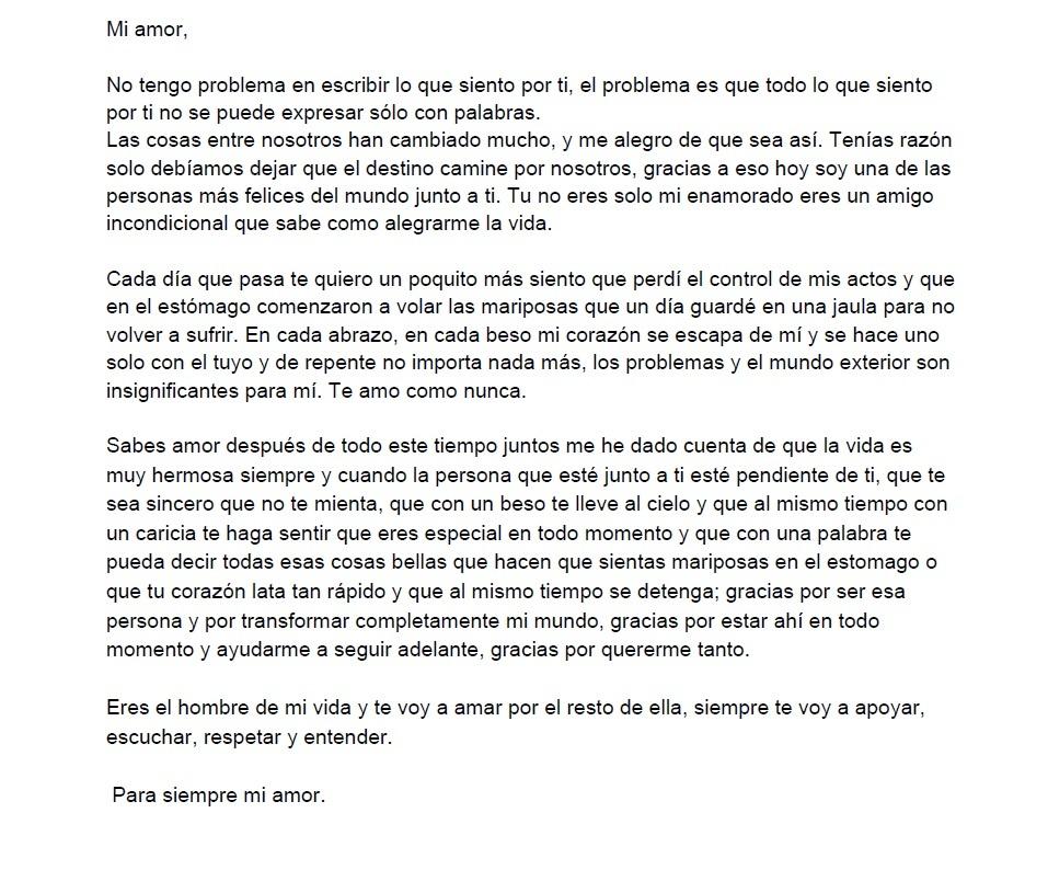 Carta de amor para un novio