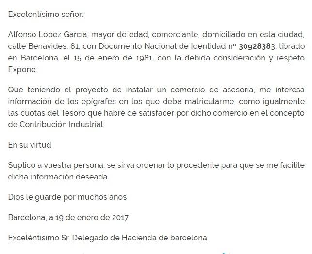 carta a petición definición