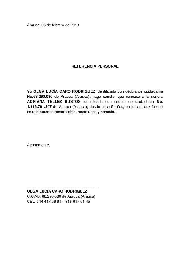 Carta de recomendación referencial