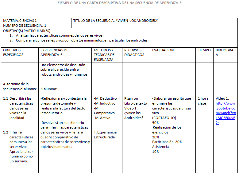 Carta descriptiva formato