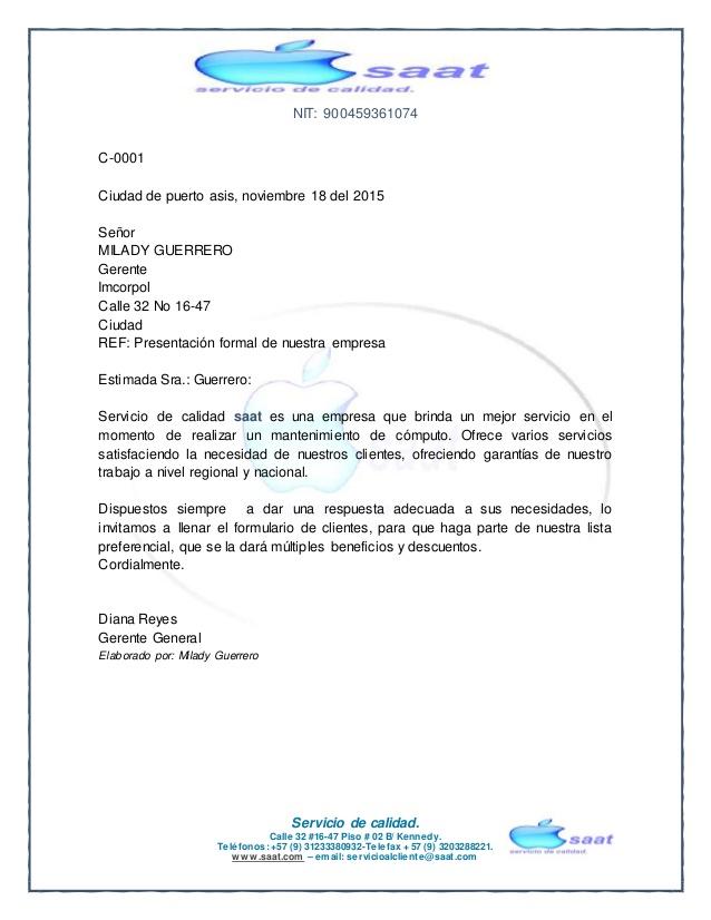 Carta empresarial servicios