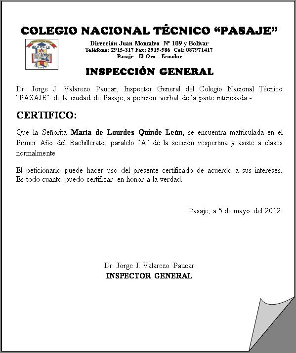 carta oficio exemplo