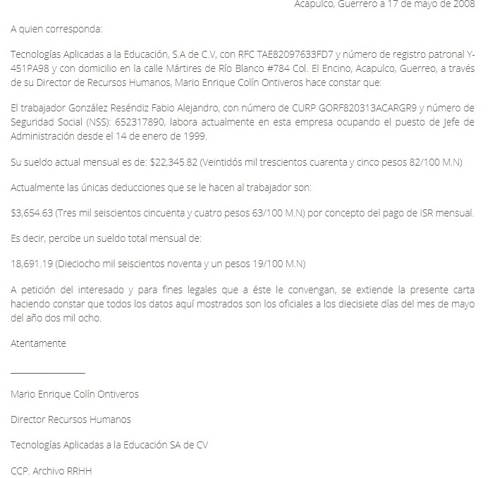 Carta patronal para visa americana