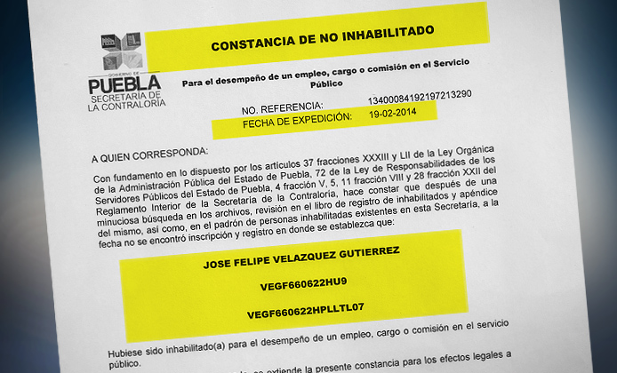 Carta de no inhabilitación federal