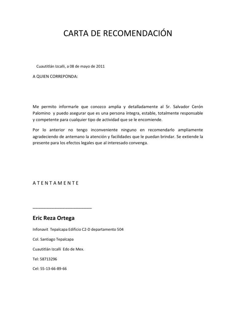 Carta De Recomendacion Partes Estructura Y Ejemplos 2019